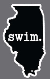 Swim. Illinois State Outline Magnet - Black