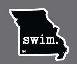 Swim. Missouri State Outline Magnet - Black