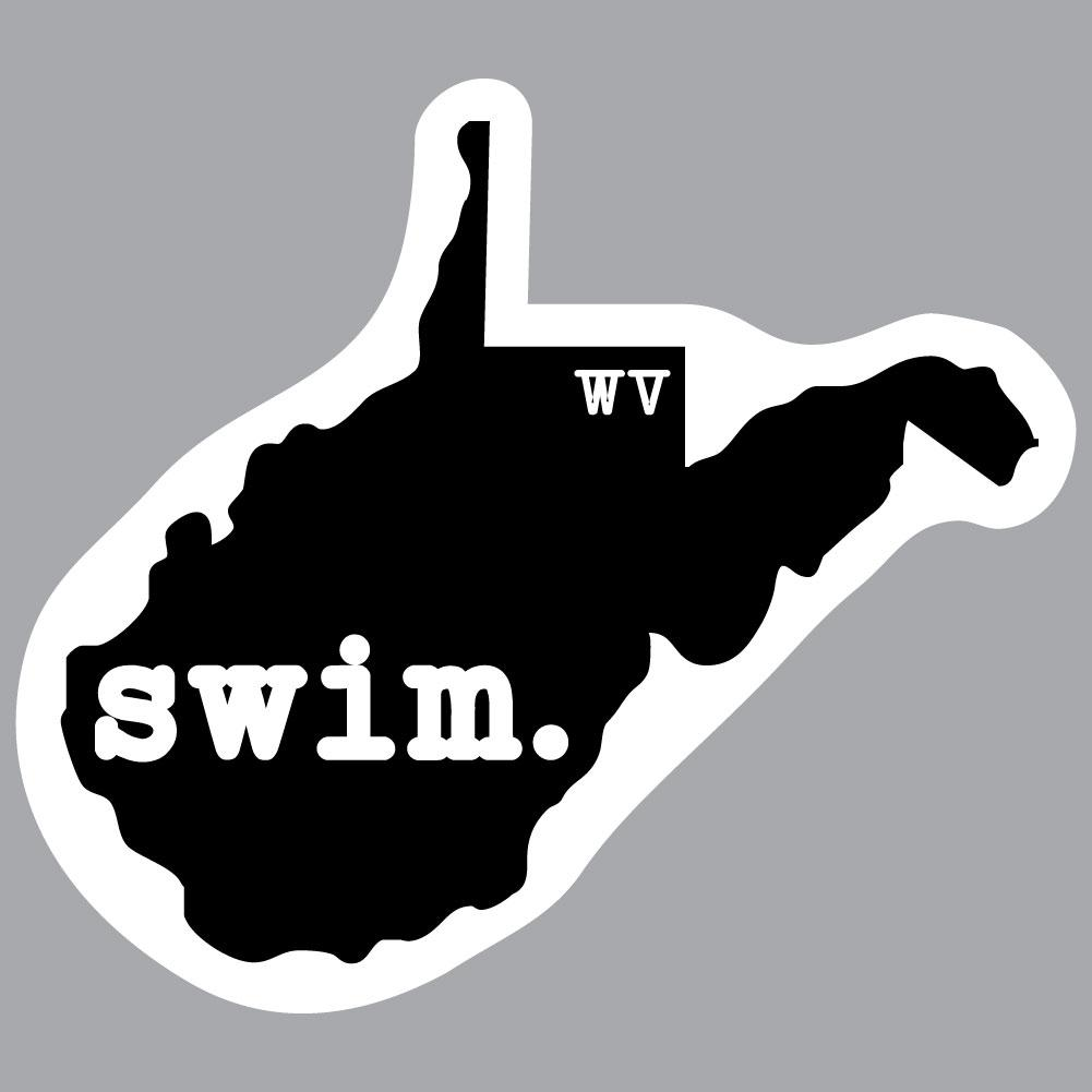 West Virginia Swim State Outline Decal