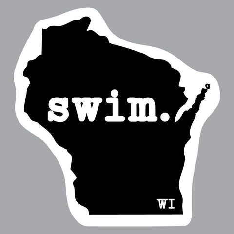 Wisconsin Swim State Outline Decal