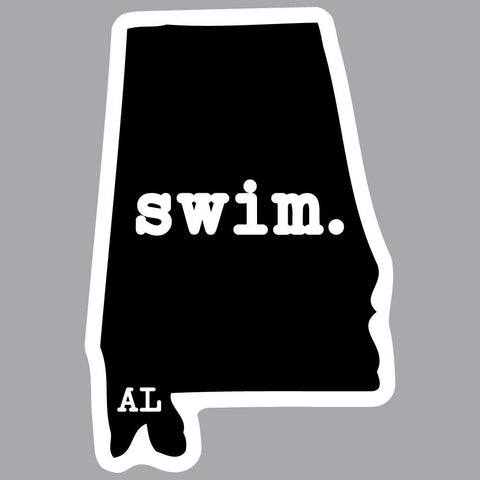 Alabama Swim State Outline Decal