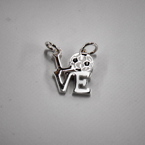 Love Soccer Silver Plated Floating Charm