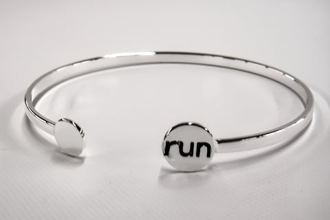 Run Silver Plated Bangle