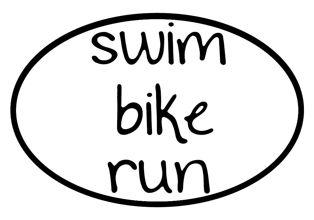 Swim Bike Run Oval Decal