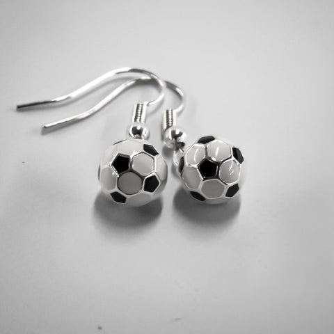 Round Soccer Ball Silver Plated Earrings