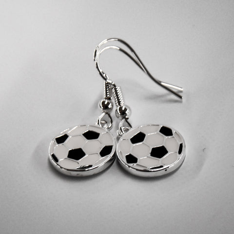 Soccer Ball Silver Plated Disc Earrings