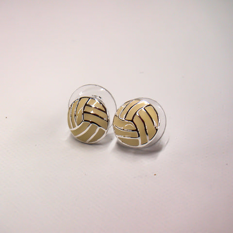 Volleyball Silver Plated Stud Earrings