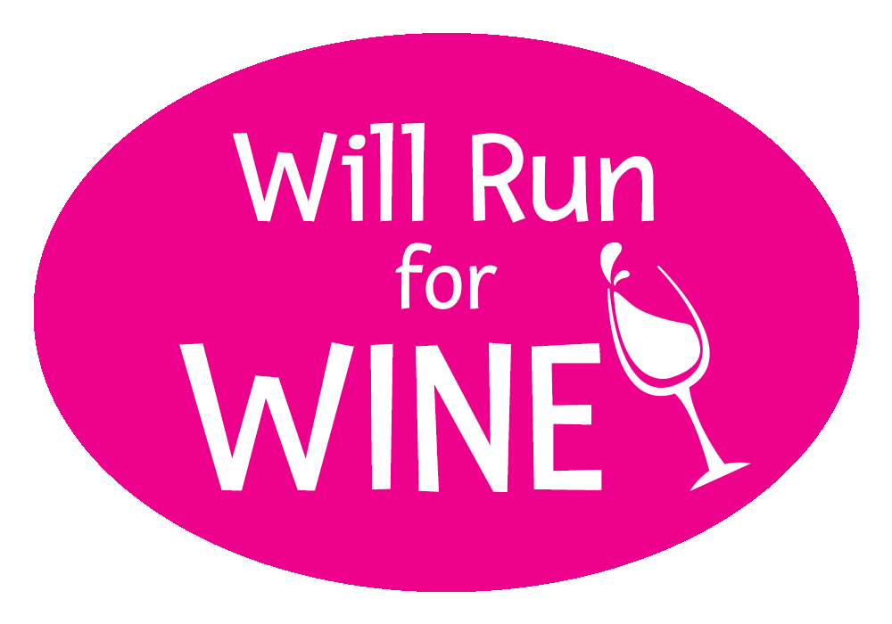 Will Run For Wine Colored Oval Decal
