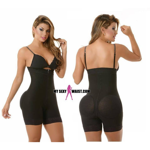 SHORT GIVE ME BODY-STRAPLESS-POWERNET-BODYSUIT W/COVERED BUTTLIFTER