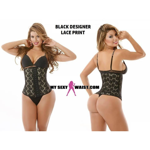 MYSEXYWAIST SEXY BLACK DESIGNER LACE PRINT SNATCH LATEX CINCHER