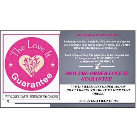 EXCHANGE SHIPPING/RESTOCKING FEE**LOVE IT GUARANTEE (7 DAY) WARRANTY
