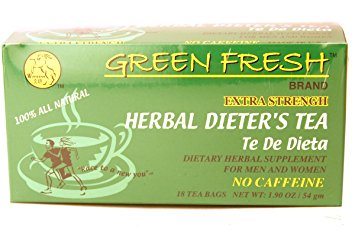 Green Fresh Extra Strength Herbal Dieters Tea, 18 Tea Bags-Caffeine Free - The Mysexywaist.com Store