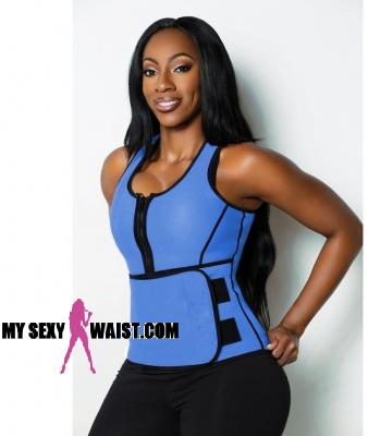 BLUE HOTSauna SHAPER NEOPRENE WORKOUT VEST - The Mysexywaist.com Store