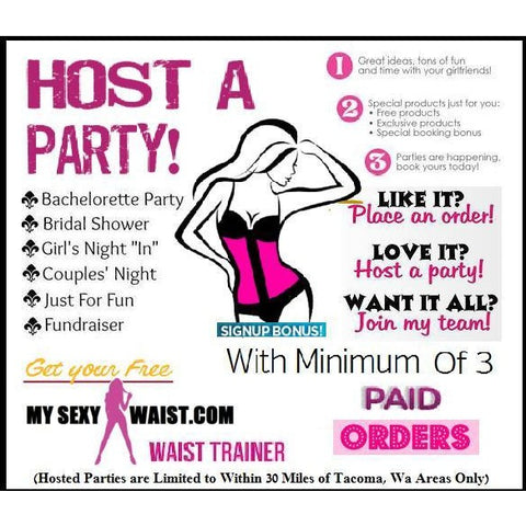 HOST & BOOK A SEXYWAIST PARTY!! (Limited, WA. Areas Only) $35 DEPOSIT FEE - The Mysexywaist.com Store