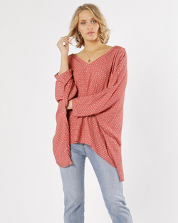 Fate+Becker Casablanca V-Neck Blouse Berry