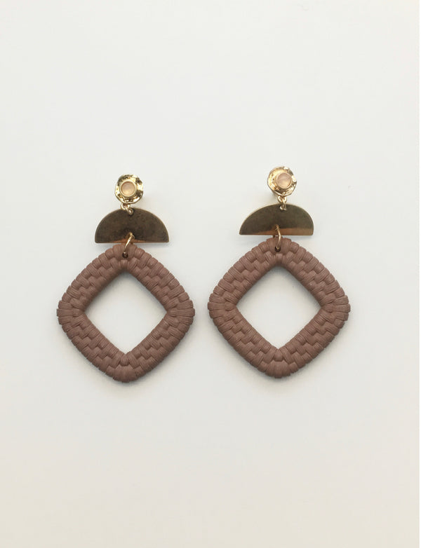 STELLA + GEMMA Weave Square Earrings