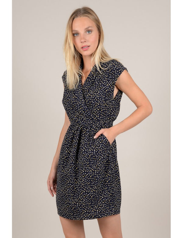 Molly Bracken Navy And Yellow Print Dress