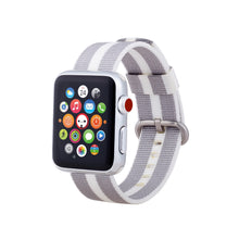 Nylon Apple Watch Band (Stripe: White and Gray)