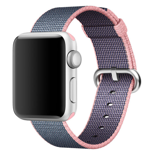 Nylon Apple Watch Band (Solid, Pink and Navy Blue)