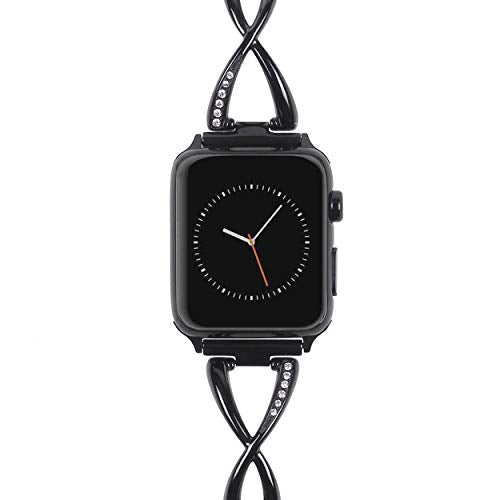 Apple Watch Band for Women - Stainless Steel - Compatible for Series 4 3 2 1 - Black
