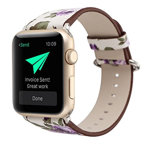 Designer Leather Apple Watch Band (Flower - Purple Roses)