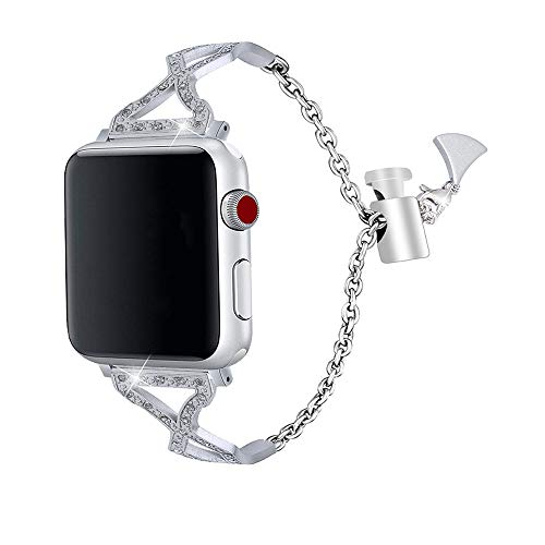 Apple Watch Band  – Stainless Steel and Crystals (Silver)