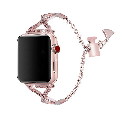 Apple Watch Band – Stainless Steel and Crystals (Pink)