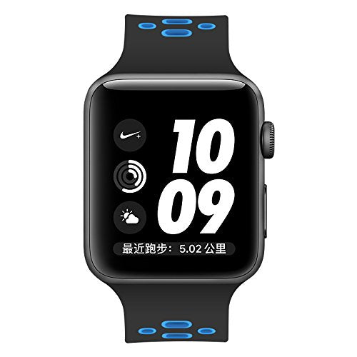 Apple Watch Silicone Band (Black with Light Blue)