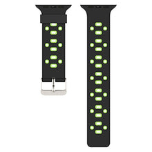 Apple Watch Silicone Band (Black with Green)