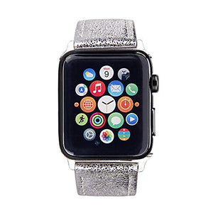Apple Watch Band - Shiny Leather Bands(Shiny Silver)