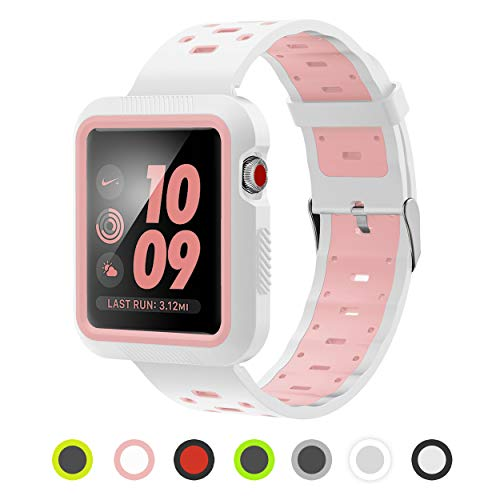 Apple Watch Band - Silicone with Built in Bumper - Series 3 2 1 (White and Pink)