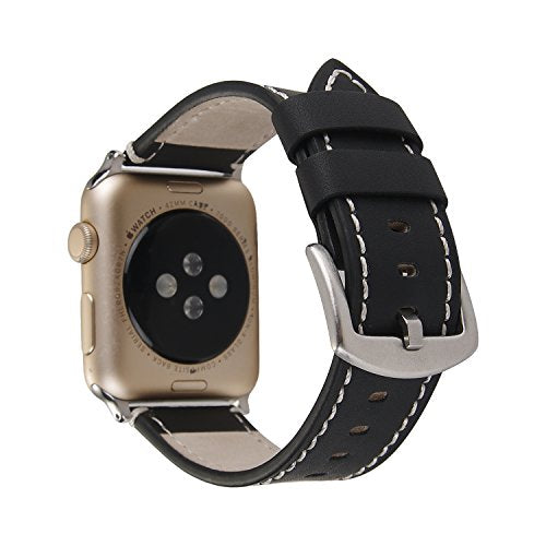 Genuine Leather Apple Watch Band (Solid Black)