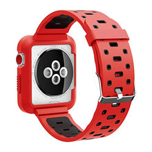 Apple Watch Band - Silicone with Built in Bumper - Series 3 2 1 (Red and Black)
