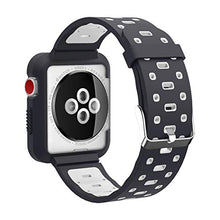 Apple Watch Band - Silicone with Built in Bumper - Series 3 2 1 (Black and Gray)