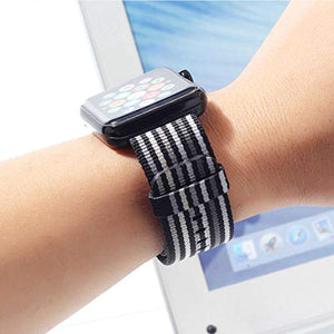 Nylon Apple Watch Band (Thin Black and Gray)
