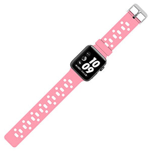 Apple Watch Silicone Band (Pink with White)