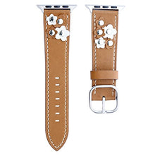 Genuine Leather Apple Watch Band (Button Brown)