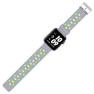 Apple Watch Silicone Band (Gray with Green)