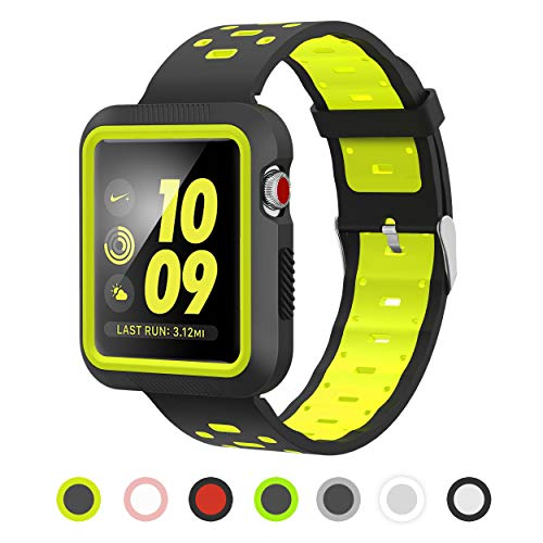 Apple Watch Band - Silicone with Built in Bumper - Series 3 2 1 (Black and Yellow)