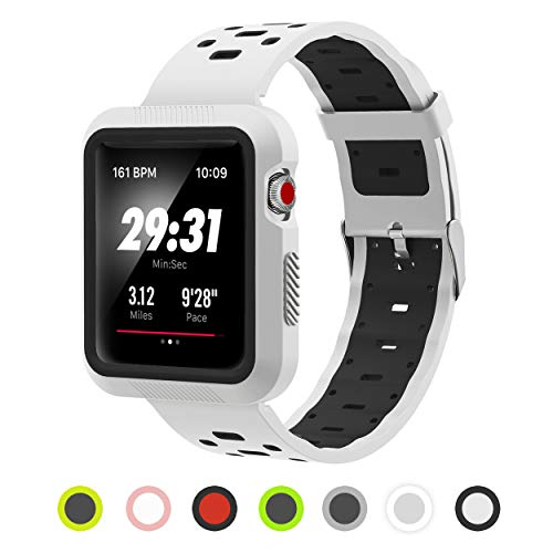 Apple Watch Band - Silicone with Built in Bumper - Series 3 2 1 (White and Black)
