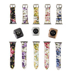 Load image into Gallery viewer, Designer Leather Apple Watch Band (Flower - Red Roses)