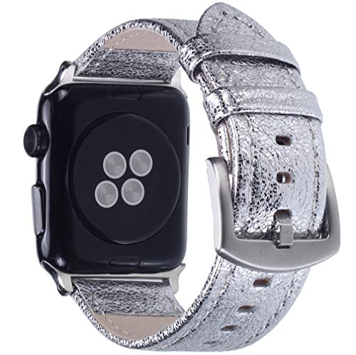 Apple Watch Band - Shiny Leather Bands for Women - Series 4 3 2 1 (Shiny Silver)