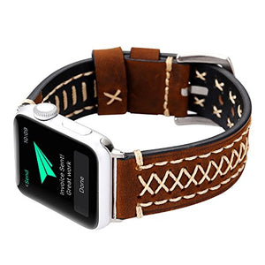 Genuine Leather Apple Watch Band (Cross Stitch Brown)