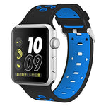 Load image into Gallery viewer, Apple Watch Silicone Band (Black with Light Blue)