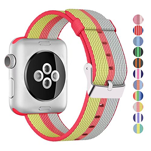 Nylon Apple Watch Band (Stripe, Red and Gold)