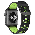 Load image into Gallery viewer, Apple Watch Silicone Band (Black with Green)