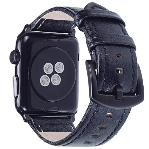 Apple Watch Band - Shiny Leather Bands for Women - Series 4 3 2 1 (Shiny Black)