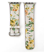 Load image into Gallery viewer, Designer Leather Apple Watch Band (Flower - Yellow Roses)