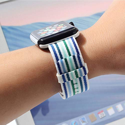 Nylon Apple Watch Band (Thin Blue and Green)