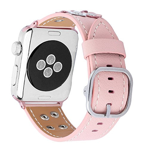 Genuine Leather Apple Watch Band (Button Pink)